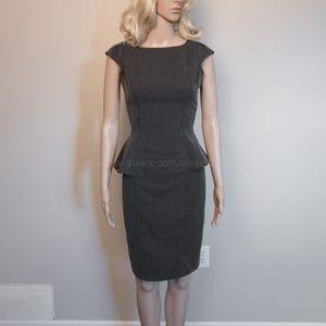 Peplum Cap Sleeves Wear to Work Dress Black 3/4